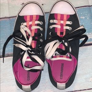 Pink and white converse
